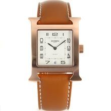 Replique Hermes H-Rose Marqueurs Or notre numéro de dossier avec bracelet en cuir brun cadran blanc-- Attractive Hermes H, notre montre pour vous 36866