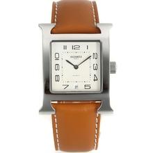 Replique Hermes H-nos marqueurs Nombre de bracelet en cuir cadran blanc-brun - Attractive Hermes H, notre montre pour vous 36865