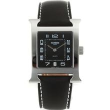 Replique Hermes H-nos marqueurs Nombre de cadran noir-bracelet en cuir - Belle Hermes H, notre montre pour vous 36864