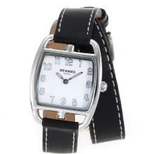 Replique Hermes Cape Cod Tonneau Double Tour avec cadran blanc-bracelet en cuir - Attractive Hermes Cape Cod montre pour vous 36856