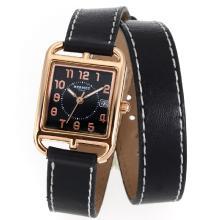 Replique Hermes Cape Cod double tour boîtier en or rose avec cadran noir-bracelet en cuir - Attractive Hermes Cape Cod montre pour vous 36855