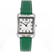 Replique Hermes Cape Cod avec bracelet en cuir cadran blanc-vert - Attractive Hermes Cape Cod montre pour vous 36854