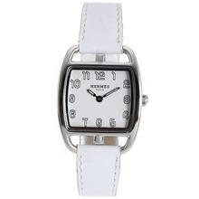 Replique Hermes Cape Cod Tonneau avec cadran blanc-bracelet en cuir - Attractive Hermes Cape Cod montre pour vous 36853