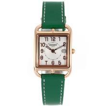 Replique Hermes Cape Cod boîtier en or rose avec bracelet en cuir cadran blanc-vert - Attractive Hermes Cape Cod montre pour vous 36852