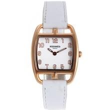 Replique Hermes Cape Cod Tonneau en or rose avec bracelet en cuir blanc Cadran Blanc-- Attractive Hermes Cape Cod montre pour vous 36851