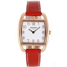 Replique Hermes Cape Cod Tonneau en or rose avec bracelet en cuir cadran blanc-rouge - Attractive Hermes Cape Cod montre pour vous 36850