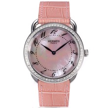 Replique Hermes Arceau Diamond Bezel avec MOP Dial rose bracelet en cuir rose 36842-