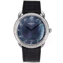 Replique Hermes Arceau Diamond Bezel avec Blue MOP Dial-bracelet en cuir noir 36841