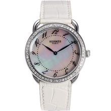 Replique Hermes Arceau Diamond Bezel avec bracelet en cuir MOP Dial-Blanc 36840