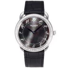 Replique Hermes Arceau Diamond Bezel avec bracelet en cuir MOP Dial-Noire 36839