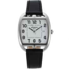 Replique Hermes Cape Cod Tonneau avec cadran blanc-bracelet en cuir - Attractive Hermes Cape Cod montre pour vous 36838