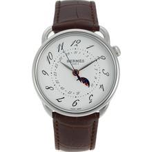 Replique Hermes Arceau automatique avec bracelet en cuir blanc Cadran Brun-36837