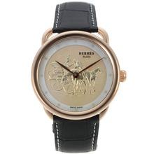 Replique Hermes Arceau Promenade de Longchamp boîtier en or rose avec bracelet en cuir 36835