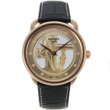 Replique Hermes Arceau Duc Attelé boîtier en or rose avec bracelet en cuir 36834