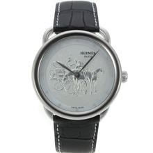 Replique Hermes Arceau Promenade de Longchamp avec bracelet en cuir 36833