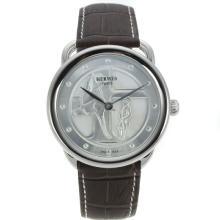 Replique Hermes Arceau Promenade de Longchamp avec bracelet en cuir 36832