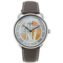 Replique Hermes Arceau duc attelé avec Orange MOP Dial Brown Leather Strap-36831