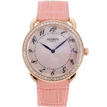 Replique Hermes Arceau boîtier en or rose avec cadran rose RdP-bracelet en cuir 36830