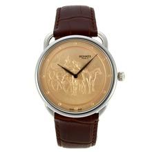 Replique Hermes Arceau Promenade de Longchamp avec bracelet en cuir d'or Dial Brown-36828