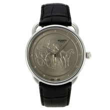Replique Hermes Arceau Promenade de Longchamp avec bracelet en cuir gris Cadran Noir-36826
