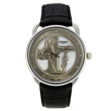 Replique Hermes Arceau duc attelé avec MOP Dial bracelet en cuir-Noir 36824