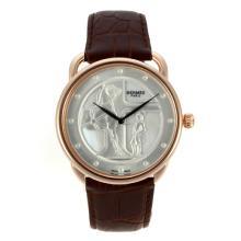 Replique Hermes Arceau Duc Attelé boîtier en or rose avec cadran MOP-bracelet en cuir 36821