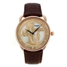 Replique Hermes Arceau Duc Attelé boîtier en or rose avec cadran MOP-bracelet en cuir 36820