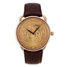 Replique Hermes Arceau Promenade de Longchamp boîtier en or rose avec bracelet en cuir d'or Dial Brown-36819
