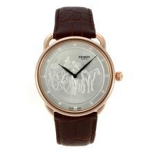 Replique Hermes Arceau Promenade de Longchamp boîtier en or rose avec bracelet en cuir argenté Cadran Brun-36818