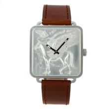 Replique Hermes Carré Silver Case H avec le cheval Dial-bracelet en cuir 36805