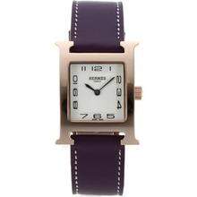 Replique Hermes H-Rose Marqueurs Or notre numéro de dossier avec bracelet en cuir cadran blanc-violet - Attractive Hermes H, notre montre pour vous 36789