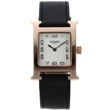 Replique Hermes H-Rose Marqueurs Or notre numéro de dossier avec bracelet en cuir blanc Cadran Noir-- Attractive Hermes H, notre montre pour vous 36788