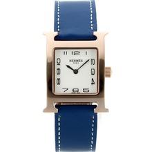 Replique Hermes H-Rose Marqueurs Or notre numéro de dossier avec bracelet en cuir blanc Cadran-Bleu - Attractive Hermes H, notre montre pour vous 36786