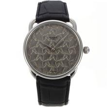 Replique Hermes suisse EAT Mouvement avec Motif Cheval Gris Bracelet en Cuir Noir Dial-36774