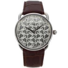 Replique Hermes Mouvement suisse ETA avec Motif Cheval Argent bracelet en cuir brun cadran-36773