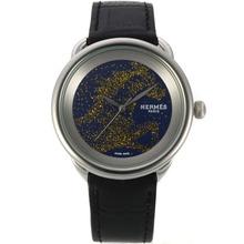 Replique Hermes Arceau Cheval de Legende avec cadran bleu-bracelet en cuir 36764