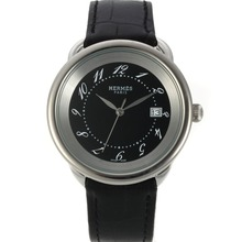 Replique Hermes Arceau avec Black MOP Dial-bracelet en cuir 36763