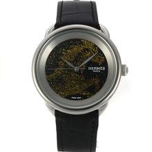 Replique Hermes Arceau Cheval de Legende avec cadran noir-bracelet en cuir 36762