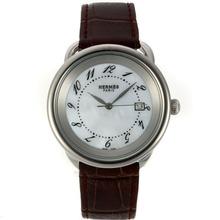 Replique Hermes Arceau avec MOP cadran blanc-bracelet en cuir 36761