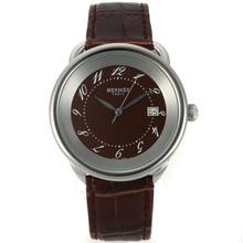 Replique Hermes Arceau avec Brown Dial-bracelet en cuir 36760