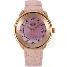 Replik Hermes Arceau Rose Gold Case with Pink MOP Dial-Leather Strap 36759