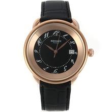 Replique Hermes Arceau boîtier en or rose avec cadran noir-bracelet en cuir 36755