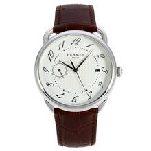 Replique Hermes Arceau automatique cadran blanc avec bracelet en cuir 36751
