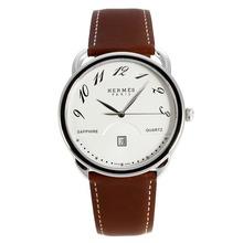 Replique Hermes Arceau Noir Zebel avec cadran blanc-bracelet en cuir 36750