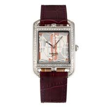 Replique Hermes Cape Cod Quadrige Diamond Bezel avec bracelet en cuir rose Cadran-Brown - Attractive Hermes Cape Cod montre pour vous 36742