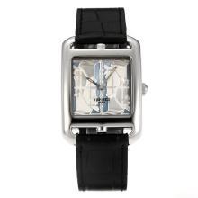 Replique Hermes Cape Cod Wealthcar Quadrige cadran blanc-bracelet en cuir noir - Attractive Hermes Cape Cod montre pour vous 36736