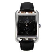 Replique Hermes Cap Cod automatique avec bracelet en cuir noir Cadran Noir-- Attractive Hermes Cape Cod montre pour vous 36734