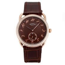 Replique Hermes Arceau lunette en or rose diamant cas avec bracelet en cuir brun café Dial-36729
