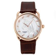 Replik Hermes Arceau Horse Deco Rose Gold Case with MOP Dial-Bronw Leather Strap 36728