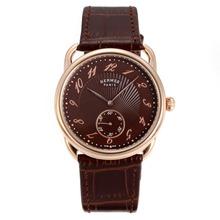 Replique Hermes Arceau boîtier en or rose avec cadran café-Brown Leather Strap 36725